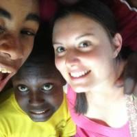 Sarina and the children having fun